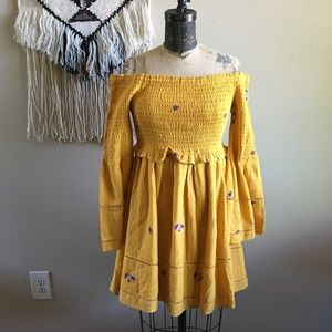 Free People Counting Daisies Embroidered Mini Dres